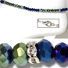 "9.5"" Anklet Crystal Beads Shiny Green Blue AKT38"