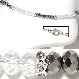 "9.5"" Anklet Crystal Beads Silver Clear Gray AKT41"