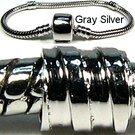 "1pc Bracelet for Charms & Beads 6"" Silver Gray BP006"