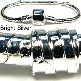 "1pc Bracelet for Charms & Beads 6"" Silver Bright BP042"