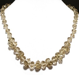 Crystal Necklace Light Pale Tan FNE197