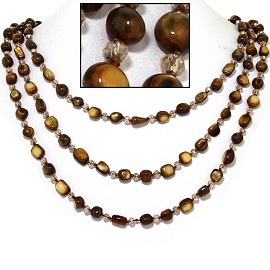 "18"" Necklace Three Line Stone Crystal Bead Brown Tan FNE722"