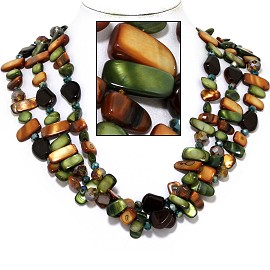 "18"" Necklace Three Line Flat Stone Bead Green Brown Tan FNE731"