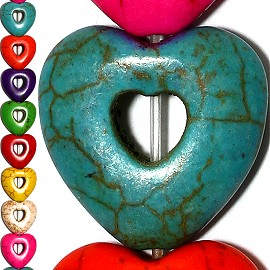 16pc 25x25x8mm Earth Stone Heart Hole Spacer Mix Color JF1202