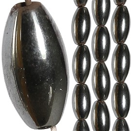 34pc 11x6mm Non-Magnetic Hematite Oval Spacer Black JF1668