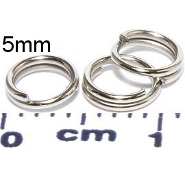 100pc 5mm Circle Key Chain Split Ring Connector Silver JF951