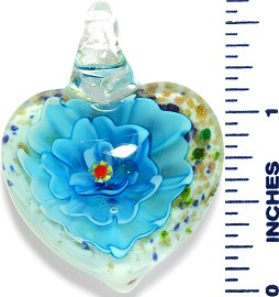 Glass Pendant Heart Flower White Gold Turquoise PD3537