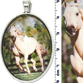 Oval Circle Pendant Running Horse Wood Fence White PD4096