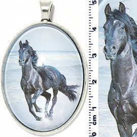 Oval Circle Pendant Horse Running Beach Black Light Blue PD4098