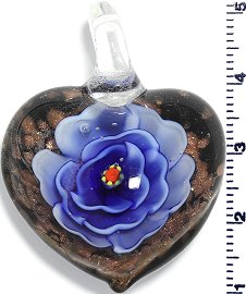 Glass Pendant Heart Flower Black Gold Blue PD802
