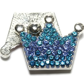 1pc 18mm Snap On Rhinestone Crown Turquoise Blue ZR1515