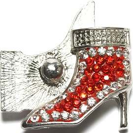 1pc 18mm Snap On Rhinestone High Heel Red Clear ZR1516