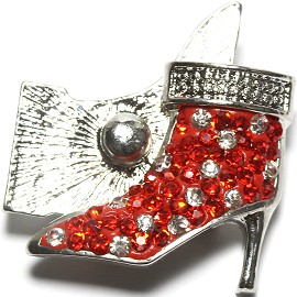 1pc 18mm Snap On Rhinestone High Heel Red Clear ZR1518