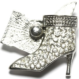 1pc 18mm Snap On Rhinestone High Heel White Clear ZR1520