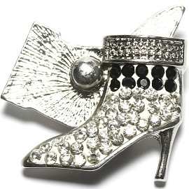 1pc 18mm Snap On Rhinestone High Heel White Clear Black ZR1521