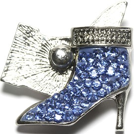 1pc 18mm Snap On Rhinestone High Heel Light Blue ZR1528