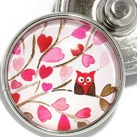1pc 18mm Snap On Charm Round Owl Hearts Tree Leaf Red ZR2097