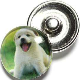 1pc 18mm Snap On Charm Round Dog White ZR689