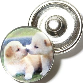 1pc 18mm Snap On Charm Round Dog Kiss White ZR702